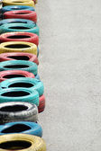 Tyres with bright colours — Stock Photo