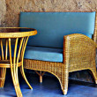 Stock Photo: Wicker furniture on patio