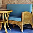 Wicker furniture on the patio — Stock Photo