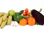 Assorted vegetables and fruits isolated on white — Stock Photo