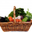 Vegetables in the basket isolated on white — Stock Photo