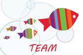 Team gruppenarbeit mit fischen — Stockvektor