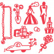 Wedding icons funny doodle — Stock Vector