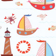 Sea travel seamless pattern — Stock Vector