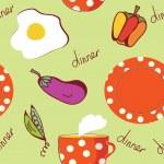食品卵、プレート、紅茶とのシームレスなパターン — ストックベクタ