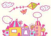 Kids funny background with kite, houses — Vector de stock