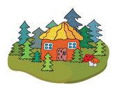 村的房子和树旗帜 — 图库矢量图片