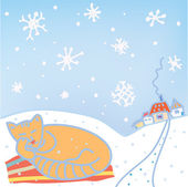 Christmas card with cat, snow — Stock Vector