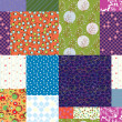 Seamless quilt pattern - floral fabrics — Stock Vector