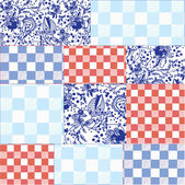 Seamless patchwork pattern delfts blue — Stock Vector