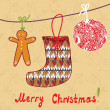 Christmas card with sock, gingerbread — Image vectorielle