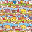 Houses in the town funny background — Stock Vector