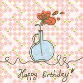 Card di buon compleanno con fiori — Vettoriale Stock