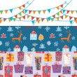 Christmas banner set with patterns - Stock Vector