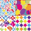 Geometric funny seamless patterns — ストックベクタ