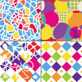 Geometric funny seamless patterns — Stock Vector