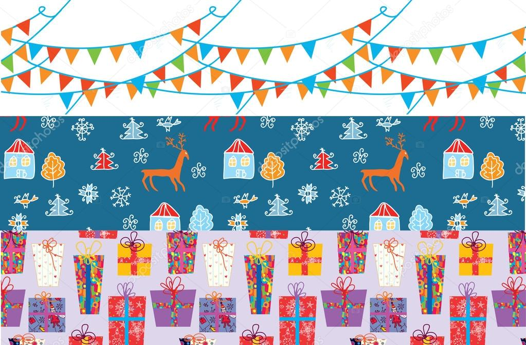 Christmas banner set with patterns funny design — Stock Vector #14178640