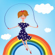 Stock Vector: Girl child on rainbow
