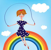 Girl child on the rainbow — Stock Vector