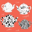 Royalty-Free Stock Vector Image: Teapots icons with floral patterns