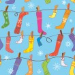 Royalty-Free Stock Vector Image: Christmas pattern with socks and snow