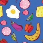 面白いデザインの食のシームレスなパターン — ストックベクタ