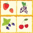 Berry and fruits seamless pattern checked — Stock Vector