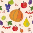 Stock Vector: Vegetables and fruits autumn seamless