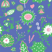 Whimsical floral seamless pattern — Stock Vector