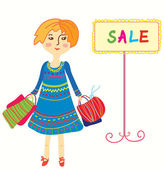 Girl with shopping bags — Stock Vector