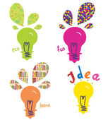 Light bulbs ideas and concepts funny — Stock Vector