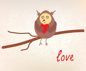 Owl love valentine card funny — Vector de stock