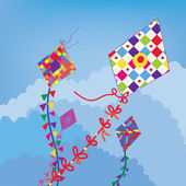 Kites in the sky background — Stock Vector