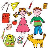 Conjunto de escuela - los niños y los objetos — Vector de stock