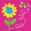 Bee and flower greeting baby card — Stock Vector