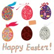 Easter eggs with patterns, bow  — Stockvectorbeeld