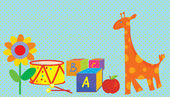 Baby background with toys, giraffe, — Stock Vector