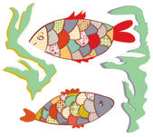 Patchwork fishes in the water funny — Stock Vector
