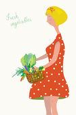 Leuk meisje met verse groenten — Stockvector