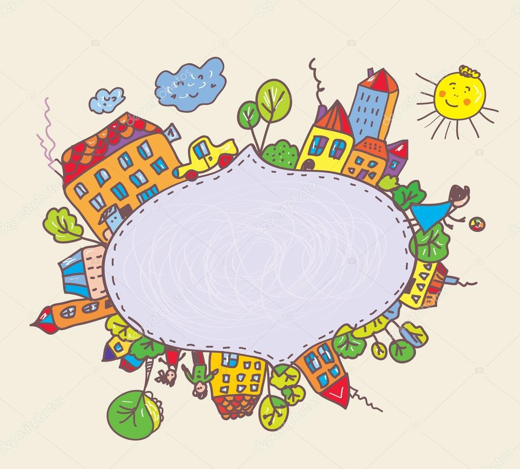 Frame for kids with town and children - Stock IllustrationPhoto Frame Design For Kids