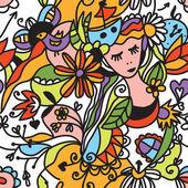 Patrón floral transparente con carita de niña — Vector de stock