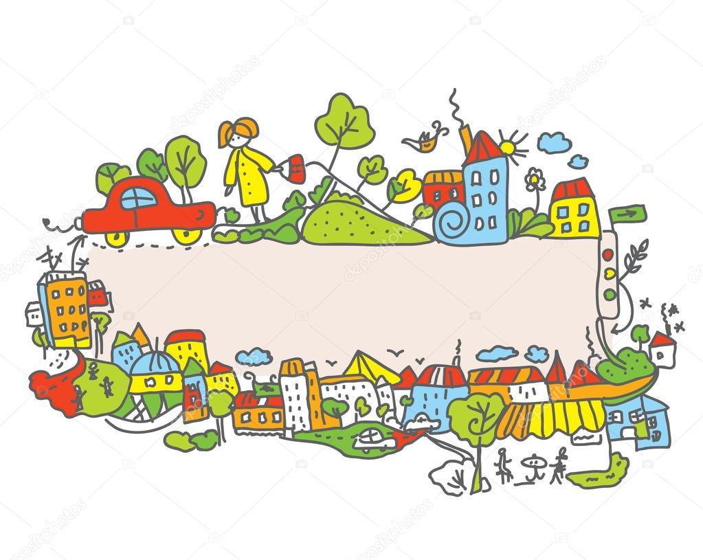 儿童卡通城市框架 — 矢量图片作者