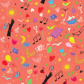 Party seamless pattern with wine, music symbols and flowers — Stock Vector