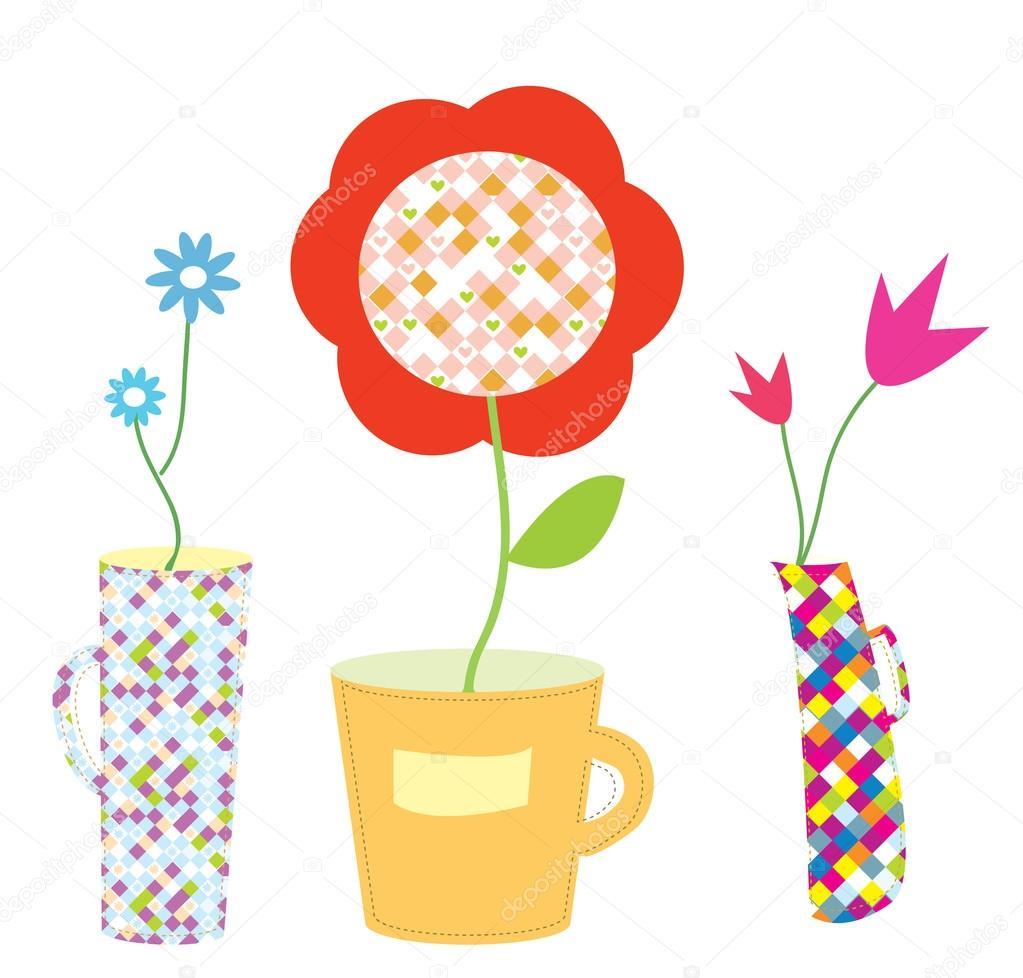 鲜花和花瓶假日集 — 矢量图片作者