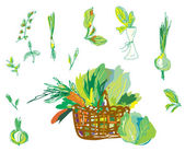 Vegetables and greens set with basket — Stock Vector