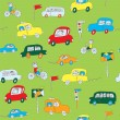 Kids in the car seamless pattern funny — Stock Vector