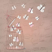 Music background with butterflies — Stok fotoğraf