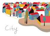 Town with houses and trees — Vector de stock