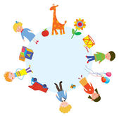 Children and toys in the circle — Vector de stock