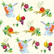 Rabbit and vegetables seamless pattern funny — Stock Vector #26073709